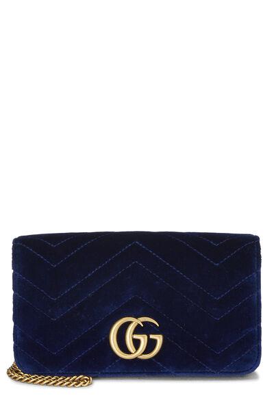 Blue Velvet GG Marmont Wallet on Chain Mini