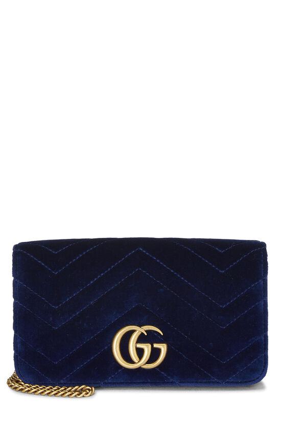 Blue Velvet GG Marmont Wallet on Chain Mini, , large image number 0