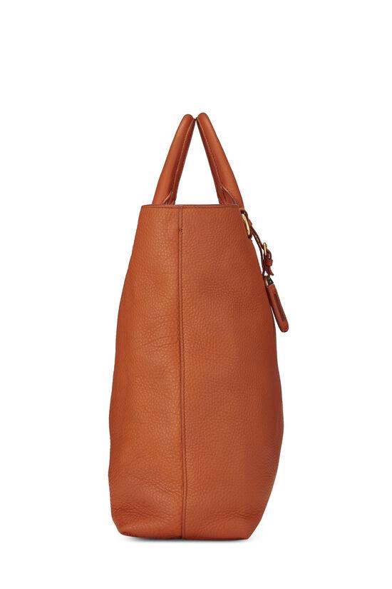 Orange Vitello Daino Shopping Tote, , large image number 2
