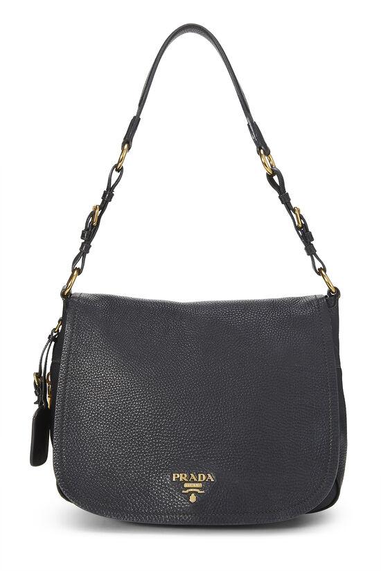 Black Vitello Daino Shoulder Bag, , large image number 0