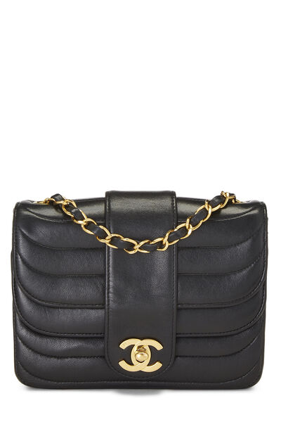 Black Quilted Lambskin Double Round Flap Mini