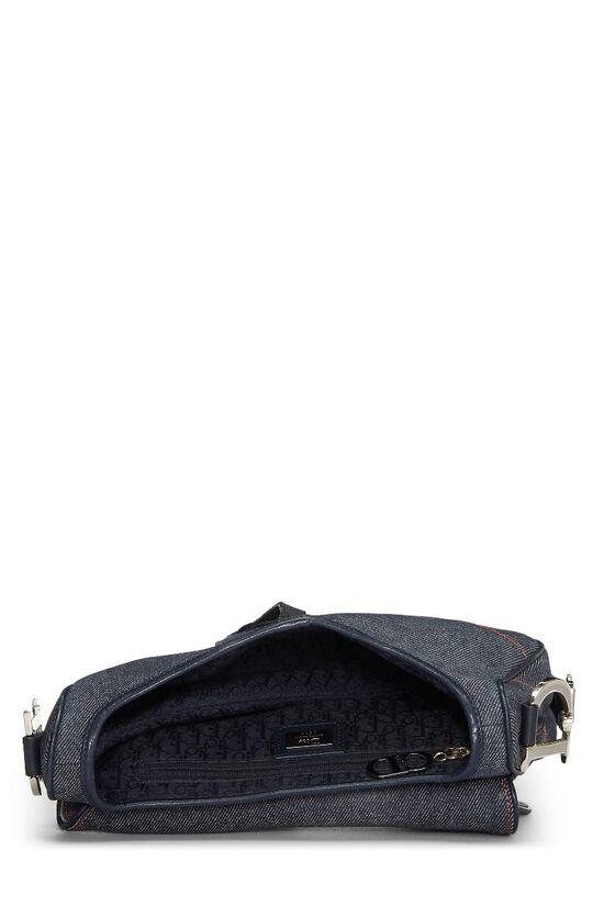 Blue Denim Embellished Saddle Bag, , large image number 5