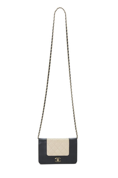 Beige & Black Quilted Lambskin Mademoiselle Wallet On Chain (WOC), , large