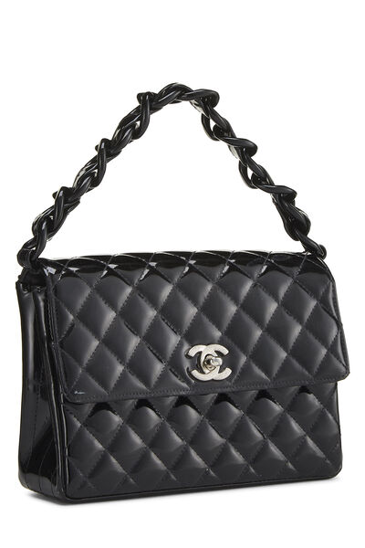 Black Quilted Patent Leather Handbag Small, , large