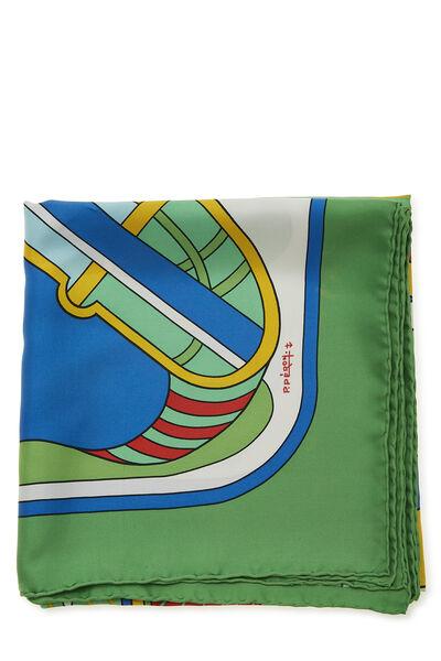 Green & Multicolor 'Thalassa' Silk Scarf 90, , large
