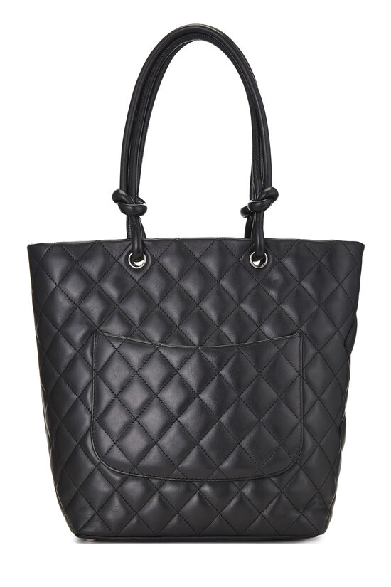 Black Quilted Calfskin Cambon Tote Small, , large image number 3