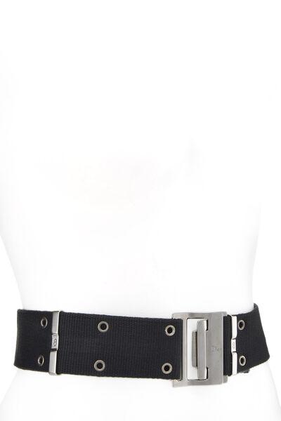 Black Oblique Canvas Belt Bag, , large