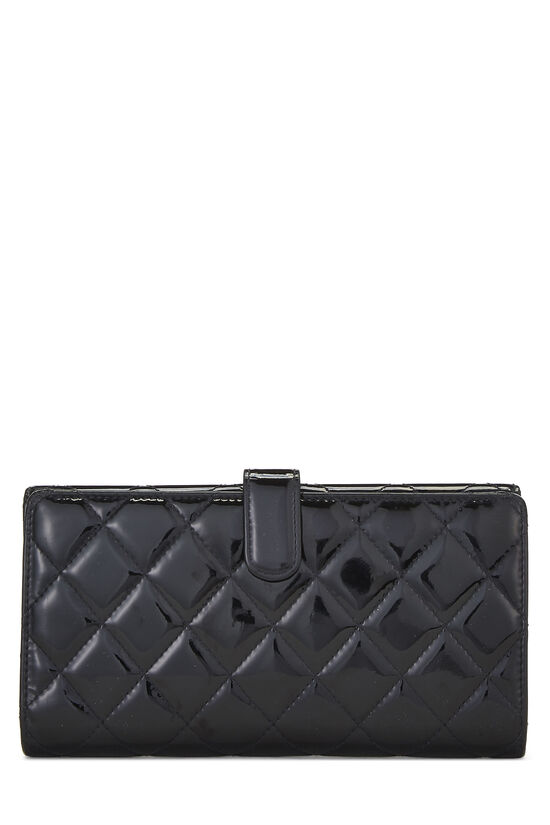 Black Quilted Patent Leather Flap Wallet, , large image number 2
