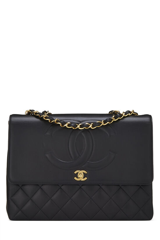 Black Quilted Lambskin 'CC' Flap Maxi, , large image number 0
