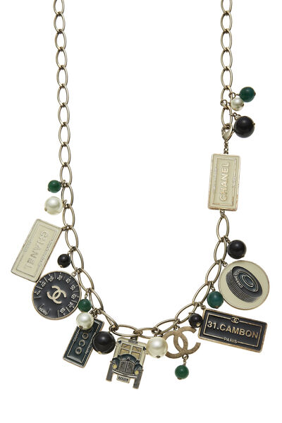 Gold & Multicolor Enamel Charmy Necklace, , large