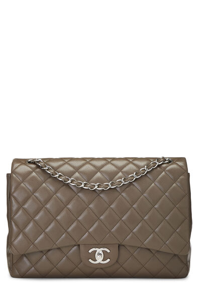 Brown Quilted Caviar New Classic Double Flap Maxi