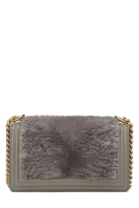 Grey Fur & Calfskin Boy Bag Medium, , large image number 4