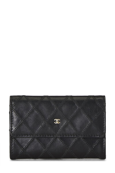 Black Quilted Lambskin Card Holder