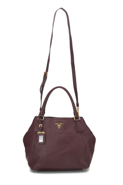 Burgundy Vitello Daino Shoulder Bag, , large