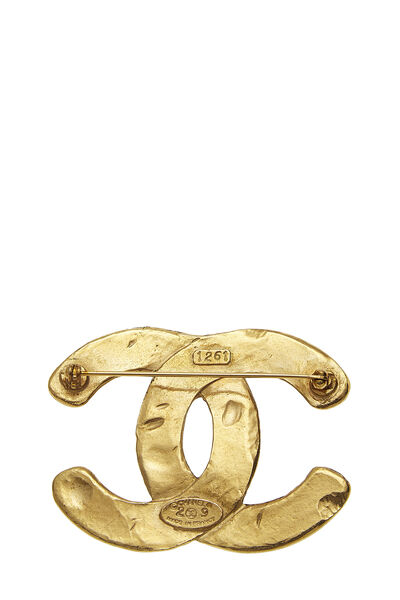 Gold Woven 'CC' Pin Large, , large