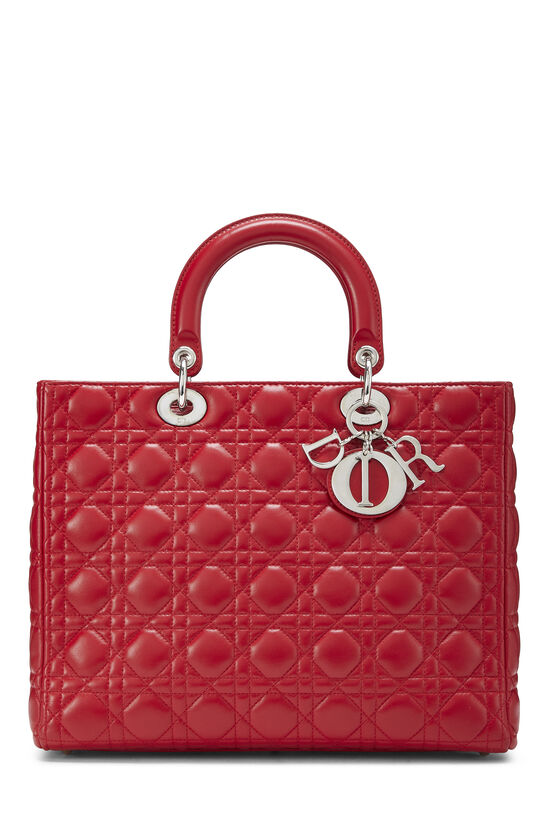 Red Cannage Quilted Lambskin Lady Dior Large, , large image number 0