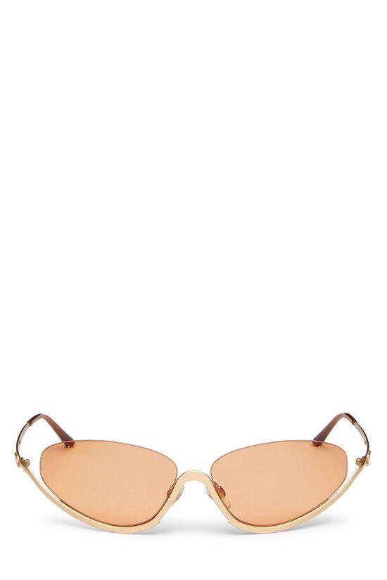 Gold Metal Half Rim Sunglasses, , large image number 0