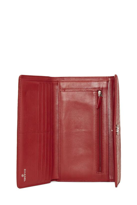 Red Camellia Lambskin Organizer Wallet, , large image number 3