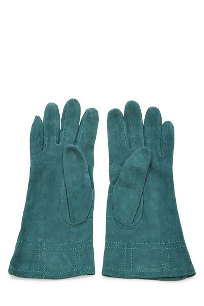 Green Suede Studded Gloves, , large