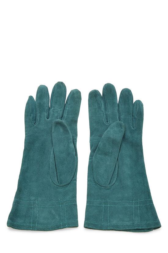 Green Suede Studded Gloves, , large image number 1