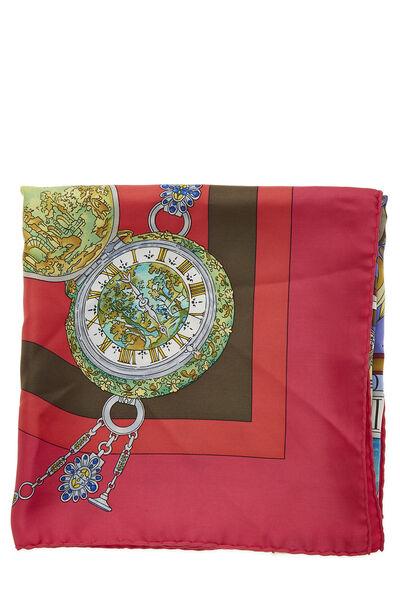 Red & Multicolor 'Parmi les Fleurs' Silk Scarf 90, , large