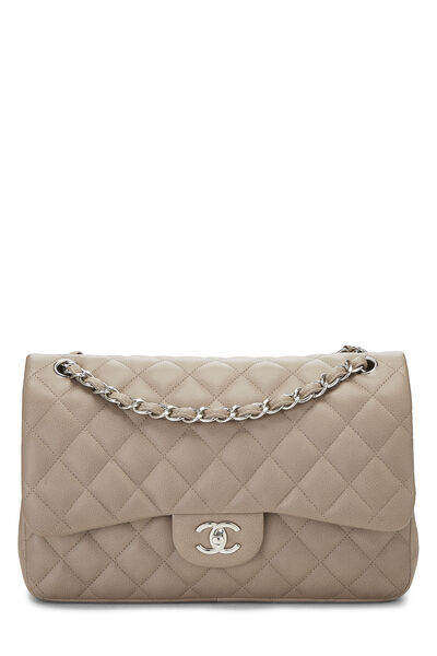 Grey Quilted Caviar New Classic Double Flap Jumbo