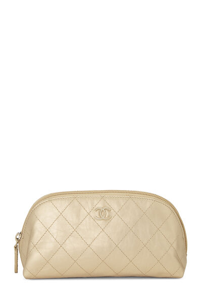 Gold Quilted Calfskin Cosmetic Pouch Small