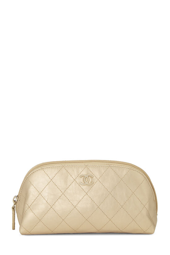 Gold Quilted Calfskin Cosmetic Pouch Small, , large image number 0