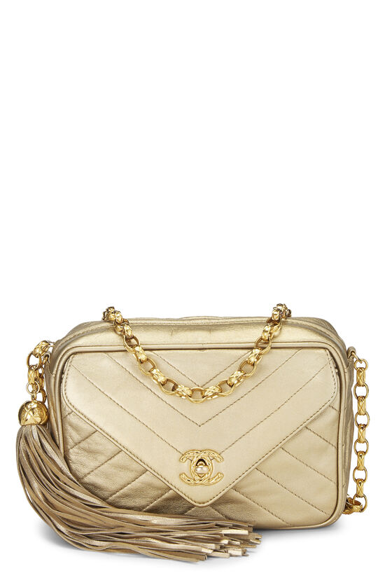 Gold Chevron Quilted Lambskin Pocket Camera Bag Mini, , large image number 0