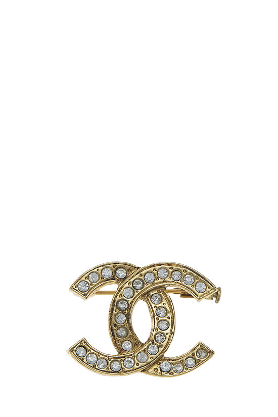 Gold & Crystal 'CC' Pin, , large image number 0
