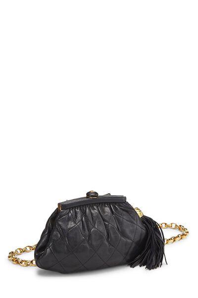 Black Quilted Lambskin Tassel Belt Bag, , large