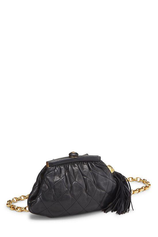 Black Quilted Lambskin Tassel Belt Bag, , large image number 1