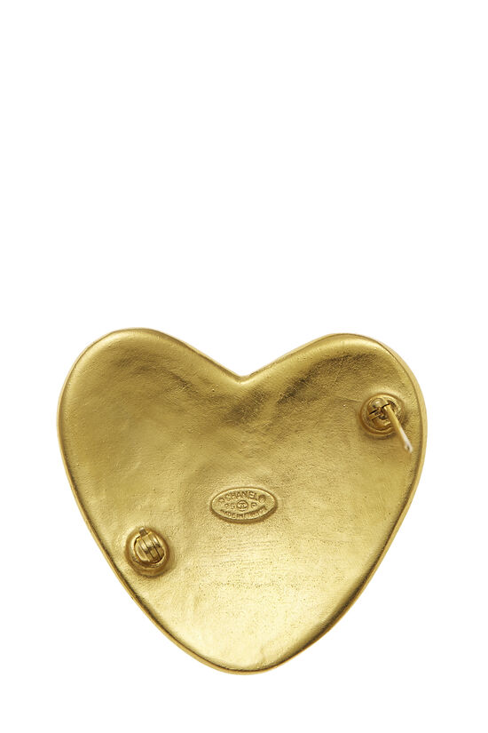 Gold 'CC' Heart Pin, , large image number 2