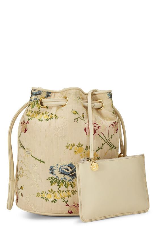 Beige Floral Brocade Bucket Bag, , large image number 3