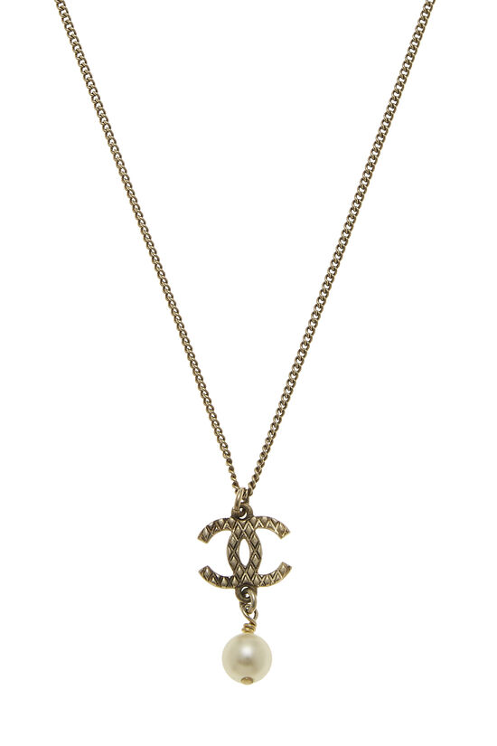 Gold & Faux Pearl 'CC' Necklace, , large image number 1