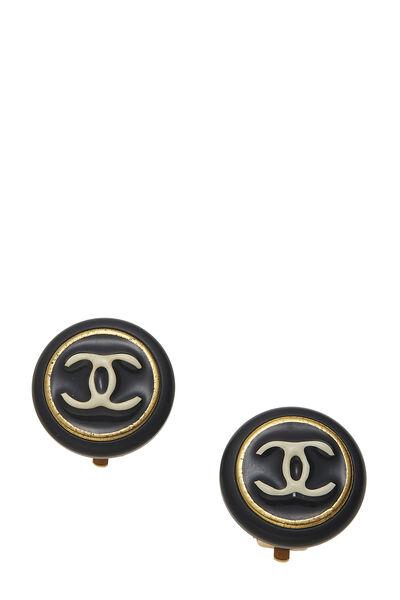 Black 'CC' Enamel Button Earrings