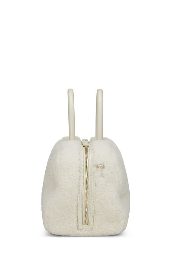 White Shearling Coco Bowling Bag, , large image number 2