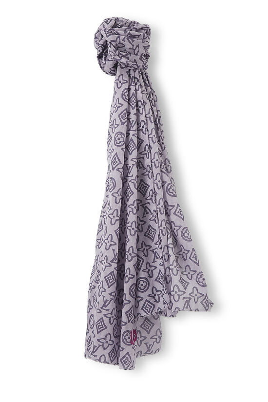 Purple Monogram Cotton Tahitienne Stole, , large image number 0