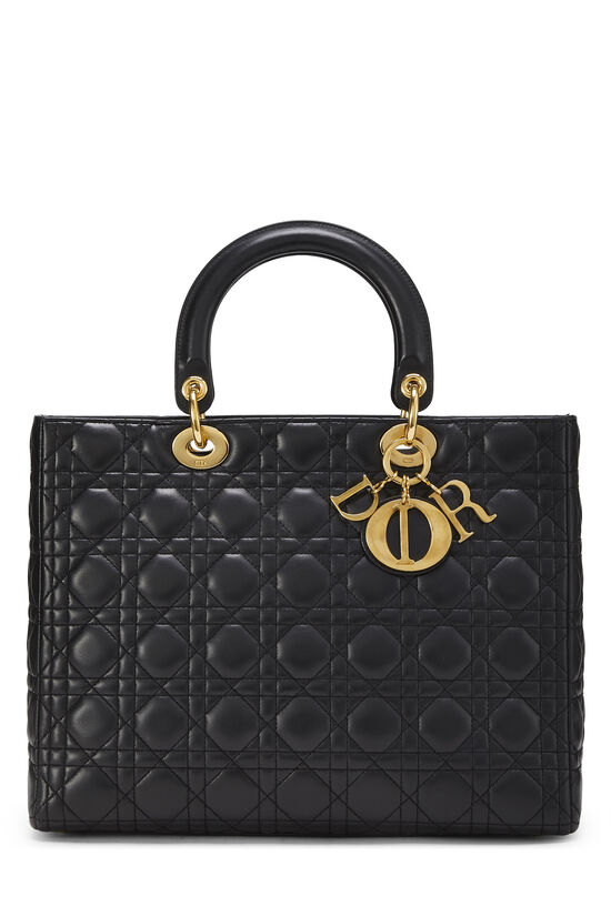 Black Cannage Quilted Lambskin Lady Dior Large, , large image number 0