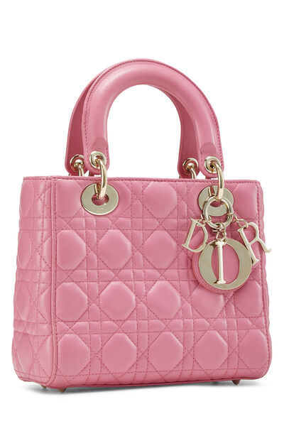 Pink Cannage Quilted Lambskin Lady Dior Small, , large