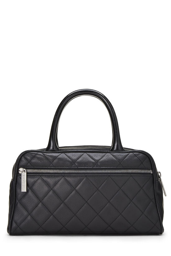Black Quilted Caviar Bowler Mini, , large image number 3