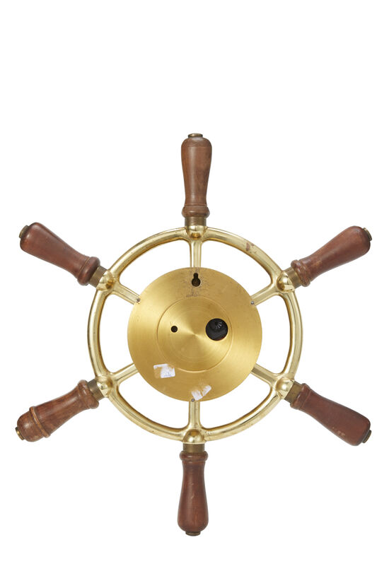 Brass Ship Helm Wall Clock, , large image number 2