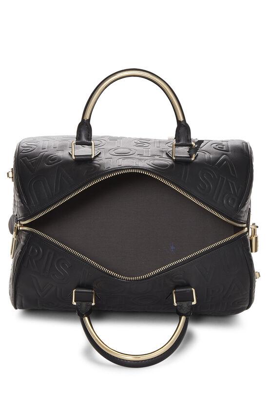 Black Embossed Leather Souple Speedy Cube, , large image number 5