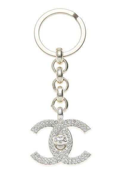 Silver & Crystal 'CC' Turnlock Keychain