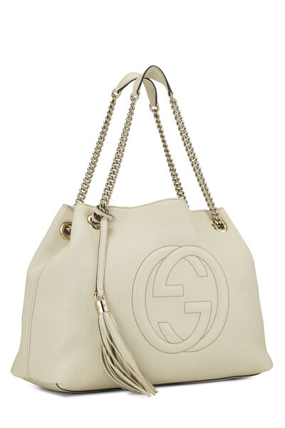 White Leather Soho Chain Tote, , large