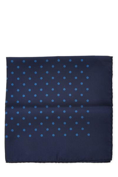 Navy Silk Dot Motif Pocket Square, , large