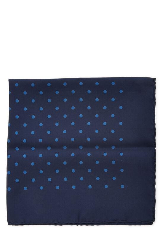 Navy Silk Dot Motif Pocket Square, , large image number 1