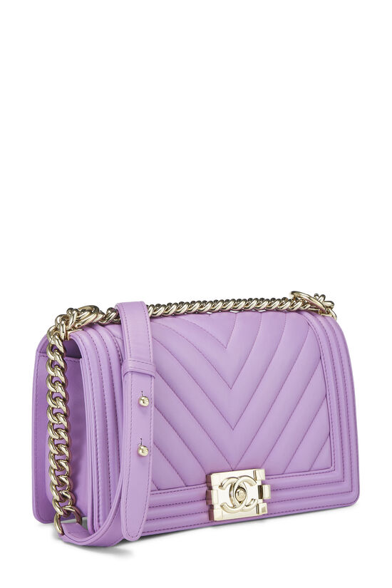 Purple Chevron Lambskin Boy Bag Medium, , large image number 2