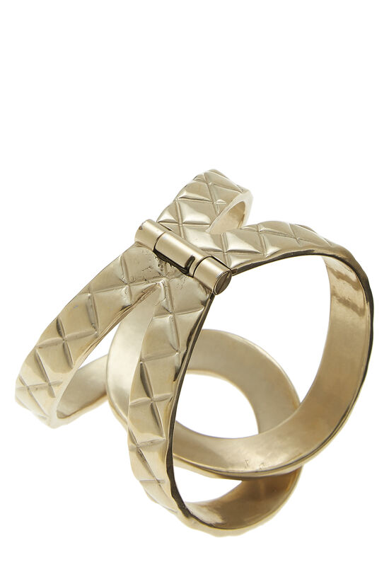 Gold Quilted Interlocking Cuff, , large image number 1
