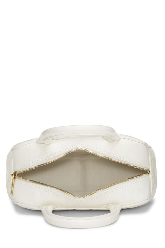 White Quilted Caviar Bowler Mini, , large image number 5